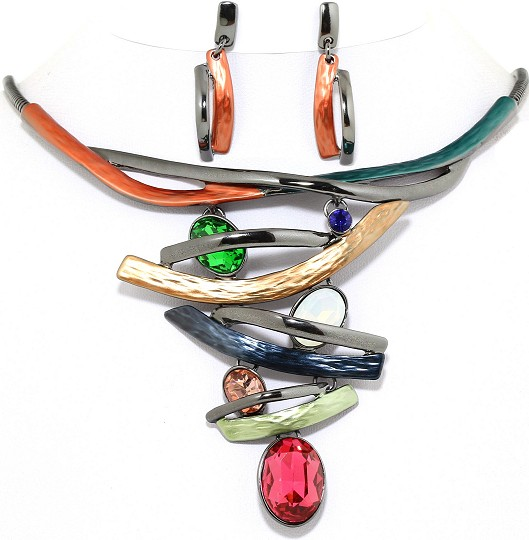 "19"" Necklace Earring Set Lines Oval Multi Color DKG Orang FNE392"