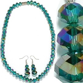10mm Crystal Necklace Earrings Set MagneticEnd Green FNE393