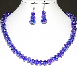 10mm Crystal Necklace Earrings Set MagneticEnd Blue Aura FNE394