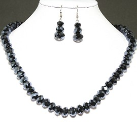 10mm Crystal Necklace Earrings Set MagneticEnd Obsidian FNE396