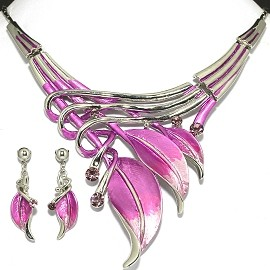 Necklace Earring Set Lavender Silver Leaf FNE398