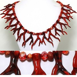"22"" Necklace Crystal Stone Bead Branch Root Red Maroon FNE401"