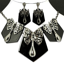 Necklace Earring Set Dragonfly Shield Black FNE412