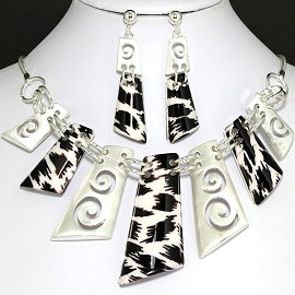 Necklace Earring Set Rectangle Silver Black FNE415