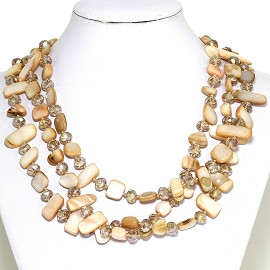 Necklace 3 Strand Crystal Rectangle Seashell Tan FNE420