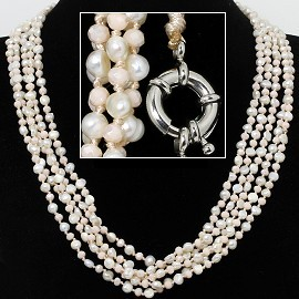 "21"" Necklace 5-Strings FW Pearl Crystal Beads Pink White FNE423"