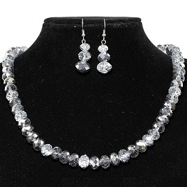 10mm Crystal Necklace Earring Set Silver Clear FNE426