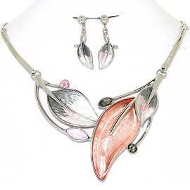 Necklace Earring Set Leaf Leaves Silver Tone Gray Pink FNE428