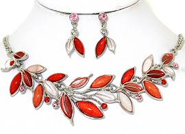 Necklace Earring Set Vine Leaves Multi Color Red FNE432
