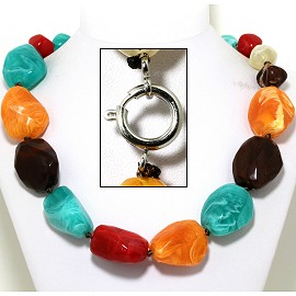"21"" Jumbo Necklace Acrylic Gem Stone Beads Multi Color FNE434"