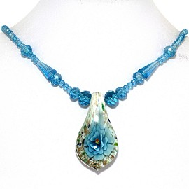 Glass Pendant Crystal Necklace Flower Spoon Turquoise Whi FNE438