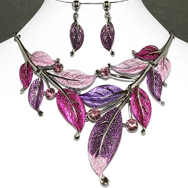 "20"" Necklace Earrings Set Leaf Gray Purple FNE441"