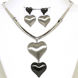 Necklace Earring Set Shiny Hearts Gray Tone Black FNE447