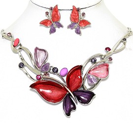 Necklace Earring Set Butterfly Rhinestones Red Purple FNE459