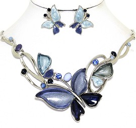 Necklace Earring Set Butterfly Rhinestones Dark Blue FNE462
