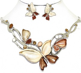 Necklace Earring Set Butterfly Rhinestones Brown Cream FNE463