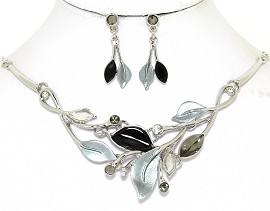 Necklace Earring Set Leaf Leaves Silver Tone Black Gray FNE464