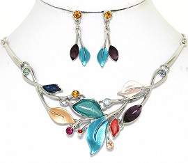 Necklace Earring Set Leaf Leaves Silver Tone Multi Color FNE469