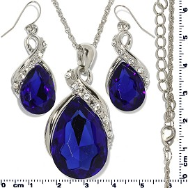 Necklace Earring Set Chain Tear Crystal Gem Silver Blue FNE472