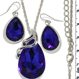 Necklace Earring Set Chain Tear Crystal Gem Silver Blue FNE477