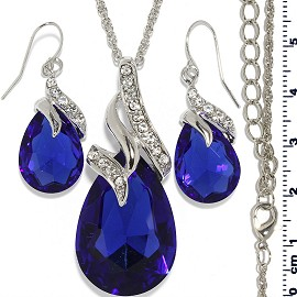 Necklace Earring Set Chain Tear Crystal Gem Silver Blue FNE482