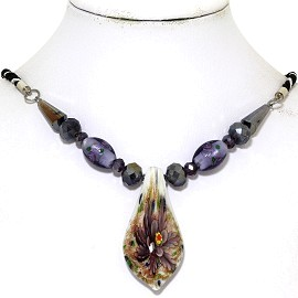 Glass Pendant Crystal Necklace Flower Spoon Purple White FNE488