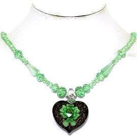 Glass Pendant Crystal Necklace Flower Heart Green Black FNE492