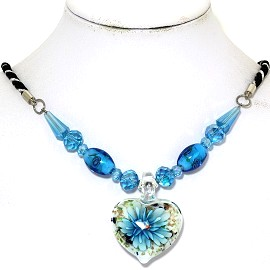 Glass Pendant Crystal Necklace Flower Heart White Turquoi FNE494