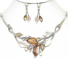 Necklace Earring Set Leaf Leaves Silver Tone Tan Lt Brown FNE497