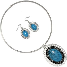 Solid Choker Necklace Earring Set Oval Silver Turquoise FNE502