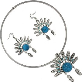 Solid Choker Necklace Earring Set Hat Silver Turquoise FNE505