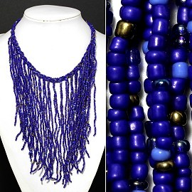 Seed Beads Necklace Royal Blue Gold FNE507