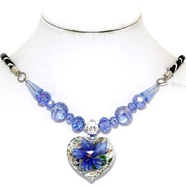 Glass Pendant Crystal Necklace Flower Heart White Blue FNE510