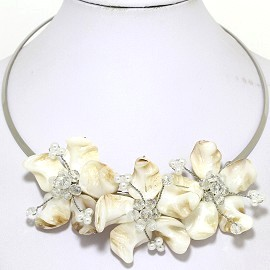 Choker Necklace Mother Of Pearl Cream Off White FNE512