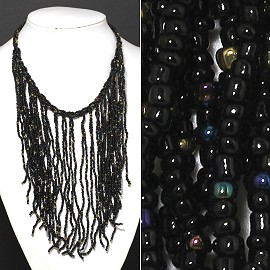 Seed Beads Necklace Black Gold FNE515