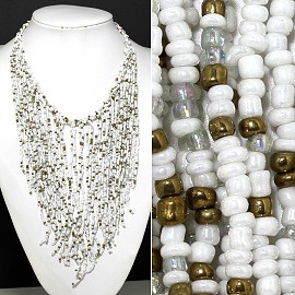 Seed Beads Necklace White Gold FNE517
