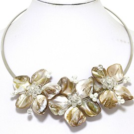 Choker Necklace Mother Of Pearl Gray Cream Off White FNE520