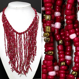 Seed Beads Necklace Hot Pink Gold Pink FNE523