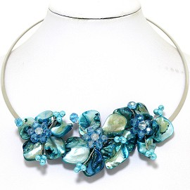 Choker Necklace Mother Of Pearl Turquoise Teal FNE526