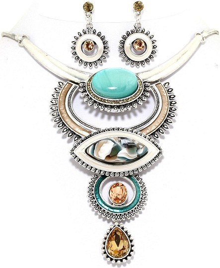 "19"" Necklace Earring Set Circle Oval Multi Color Tan Turq FNE530"
