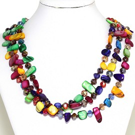 Necklace 3 Strand Crystal Rectangle Seashell Multi Color FNE532