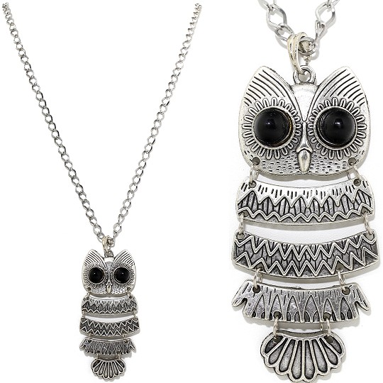 "32"" Metallic Chain Necklace Pendant Black Silver Tone Owl FNE533"