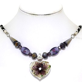 Glass Pendant Crystal Necklace Flower Heart White Purple FNE535