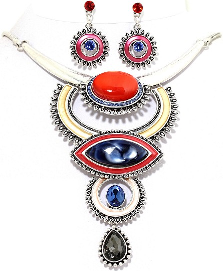 "19"" Necklace Earring Set Circle Oval Multi Color Red Blue FNE536"