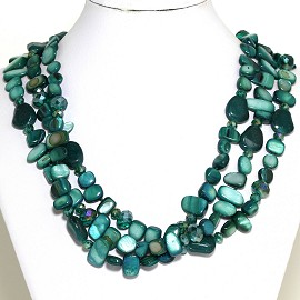 Necklace 3 Strand Crystal Rectangle Seashell Teal Green FNE545