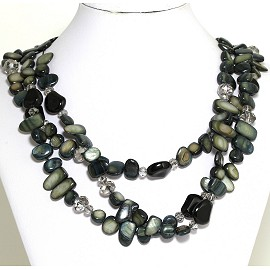 Necklace 3 Strand Crystal Rectangle Seashell Black Gray FNE547