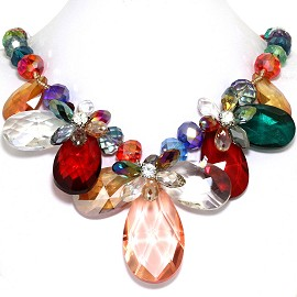 Jumbo Crystal Necklace Oval Tear Drop Multi Color FNE552