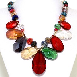 Jumbo Crystal Necklace Oval Tear Drop Multi Color Red FNE556