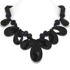 Jumbo Crystal Necklace Oval Tear Drop Shiny Black FNE559