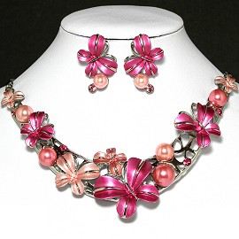 Necklace Earring Set Flower Peach Magenta FNE562